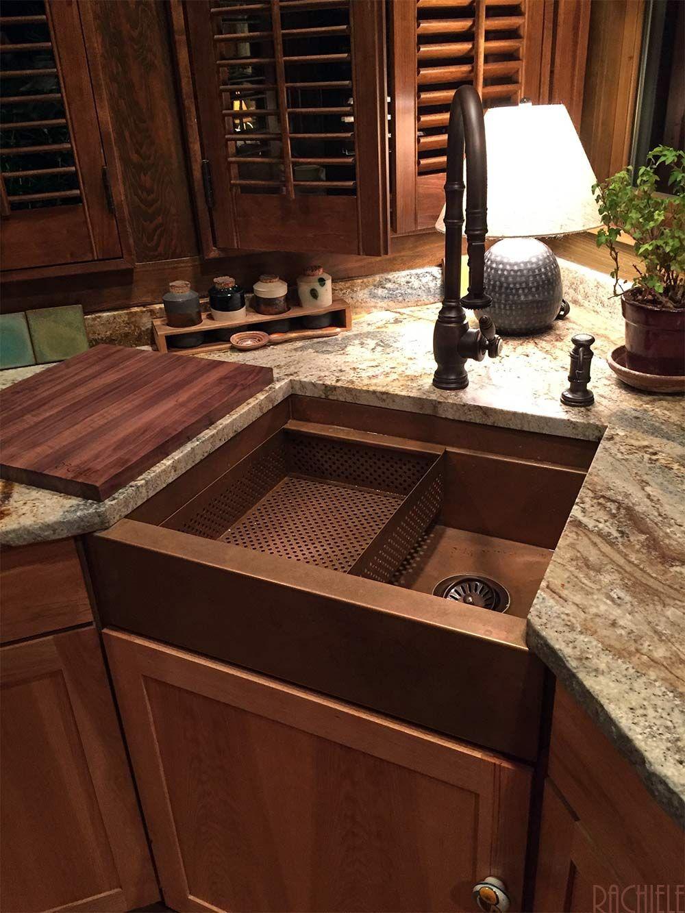 corner farmhouse copper sink by rachiele coppersinks customsinks rh pinterest com