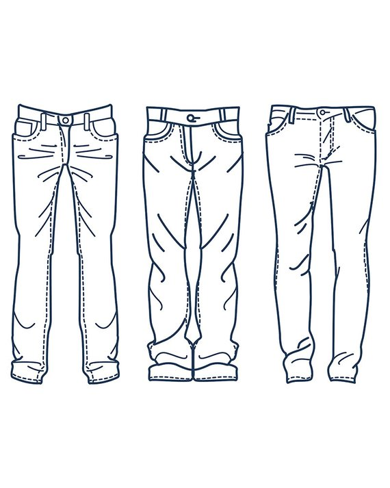 Hand Drawn Fashion Collection Of Men S Jeans Outline Etsy How To Draw Hands Fashion Collection Drawing Clothes
