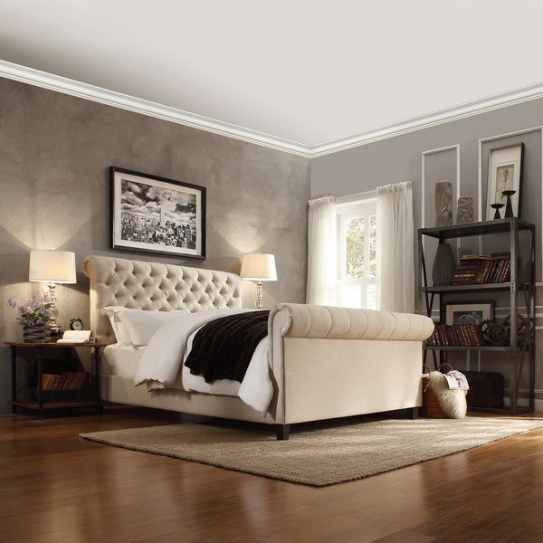 Restoration Hardware Chesterfield Fabric Sleigh Bed Look For Less