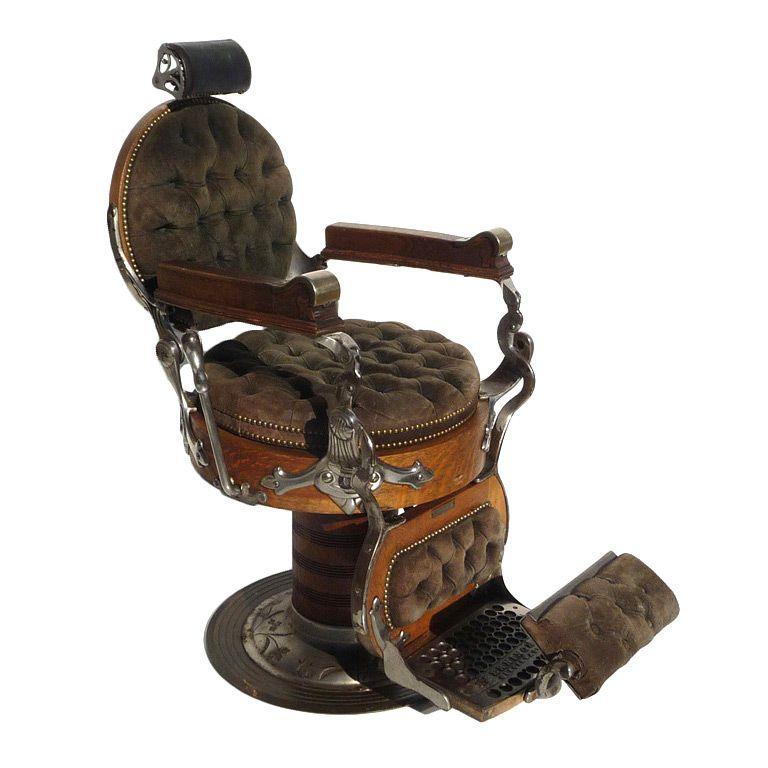 Turn Of Century Oak Barber Chair By E Berninghaus Fauteuil De Barbier Chaise De Coiffeur Salon De Barbier