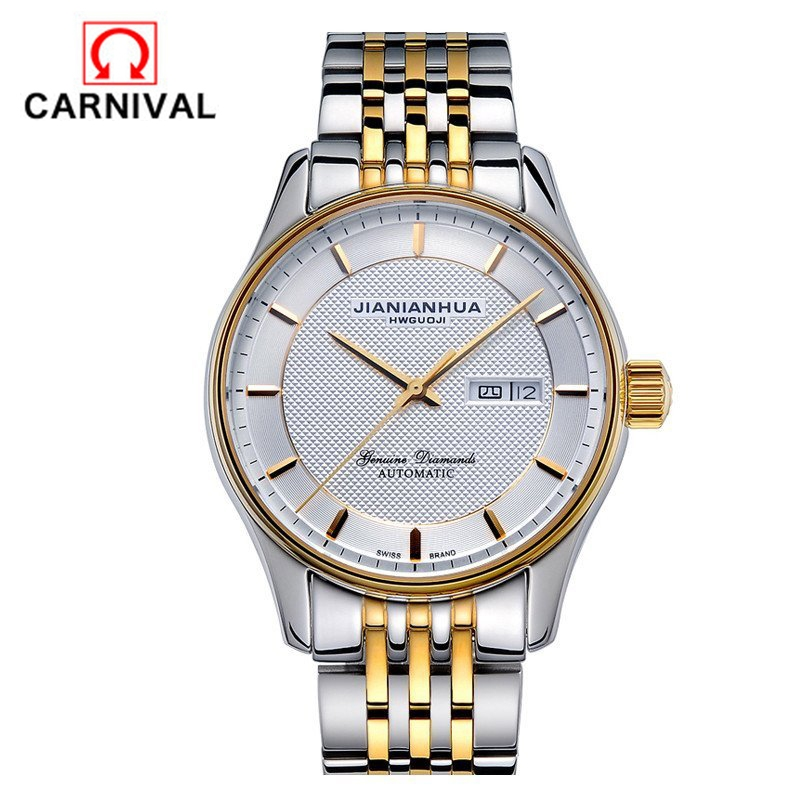 101.40$  Watch now  - CARNIVAL men 's watches concise dial leisure automatic mechanical watch waterproof business Steel strip dual calendar display