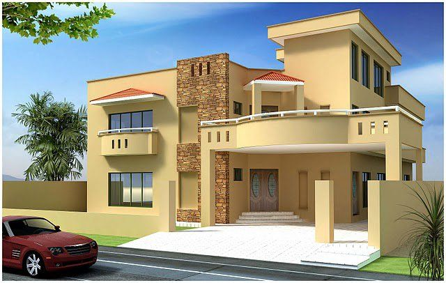 Indian house kanal 10 marla plan 3d front for Images of front view of beautiful modern houses