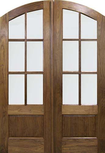 Walnut Solid Wood Arch Top Exterior Double Door