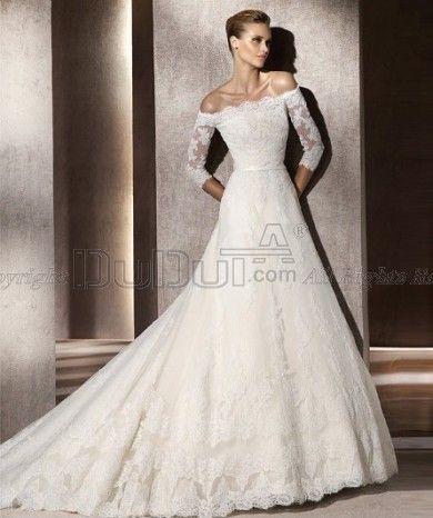 A-line Off the shoulder 3/4 Length Sleeve Sweep Wedding Dresses With Embroidery, Wedding Dresses, Bridal Gowns, Bridal Wedding Dresses
