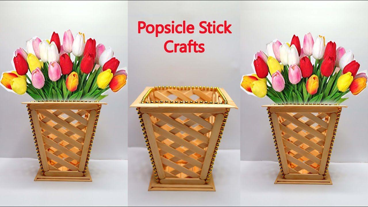 Ide Kreatif Vas Bunga Dari Stik Es Krim Popsicle Stick Crafts