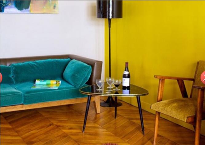Un Petit Salon Vintage Moutarde Et Bleu Canard