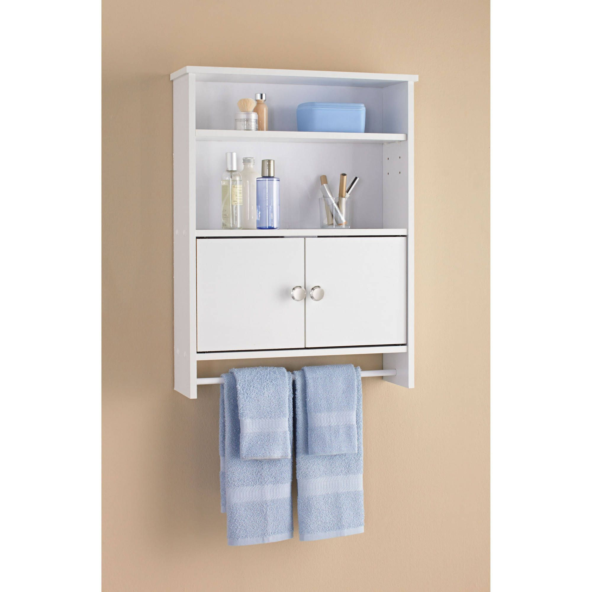 The Mainstays White Wood Wall Cabinet offers an attractive and ...