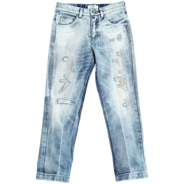 Young Versace Kids-boys Regular Fit Destroyed Washed Denim Jeans ($350) ❤ liked on Polyvore featuring blue
