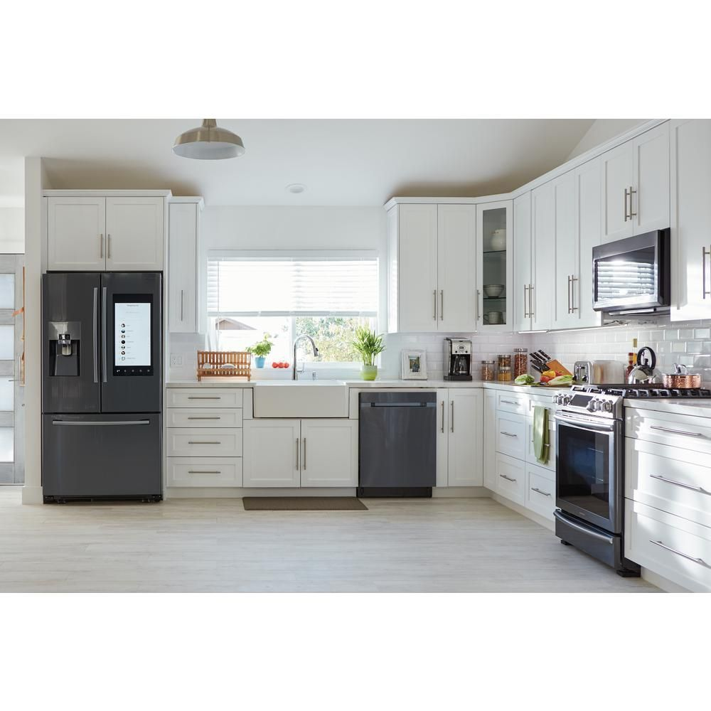Samsung 30 In 2 1 Cu Ft Over The Range Microwave In Fingerprint Resistant Black Stainless With Ceramic Enamel Interior Me21m706bag The Home Depot Kitchen Remodel Small Interior Design Kitchen Small Kitchen Design Small