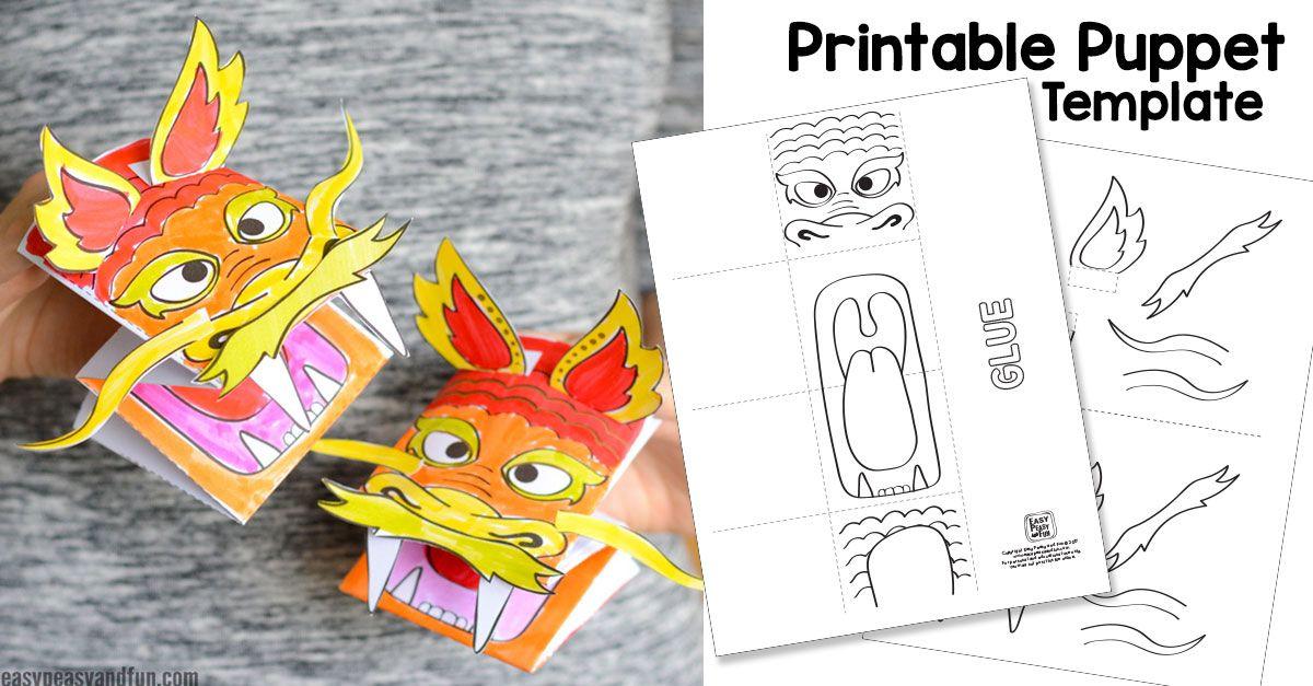 Printable Chinese Dragon Puppet Chinese Dragon Animal Coloring