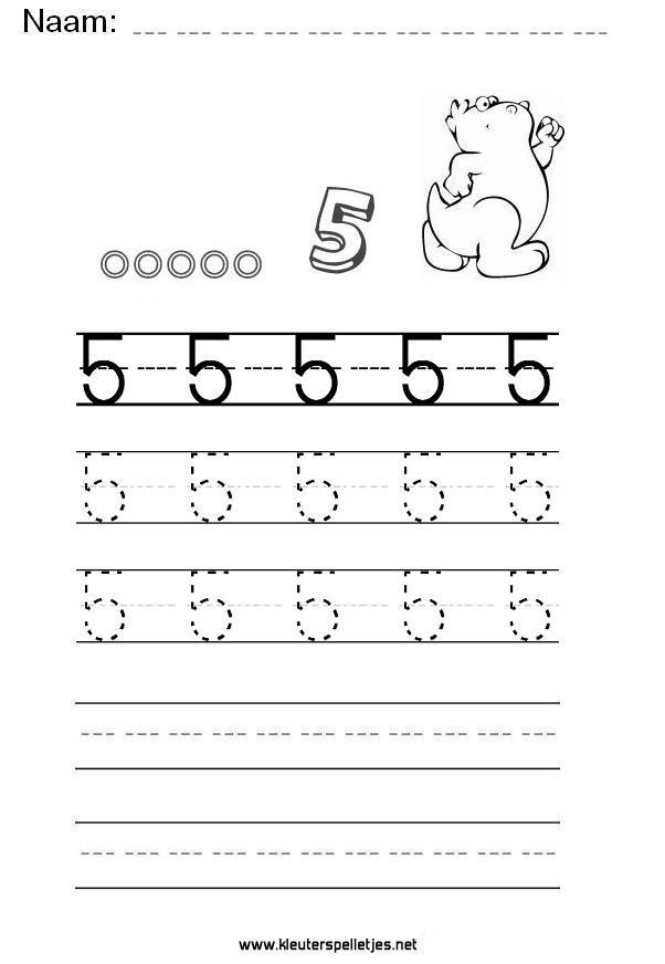 Ongekend Cijfer 5 leren schrijven, werkblad printen. (met afbeeldingen AS-42