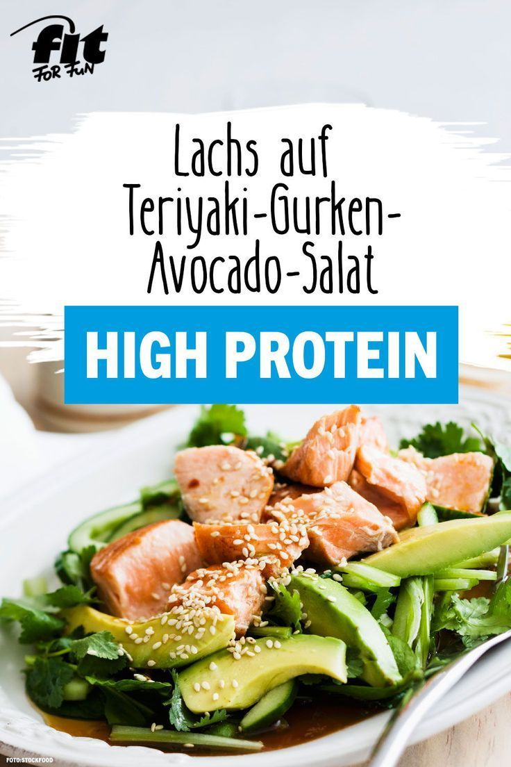 Lachs auf Teriyaki-Gurken-Avocado-Salat Rezept - FIT FOR FUN