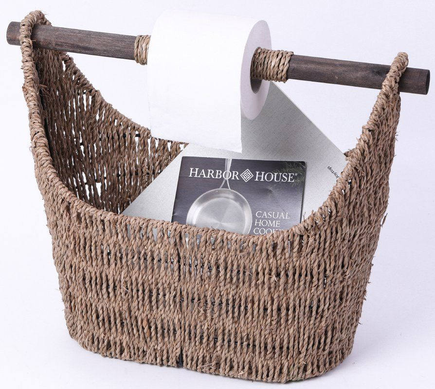 Basket Freestanding Toilet Paper Holder with Wooden Rod images