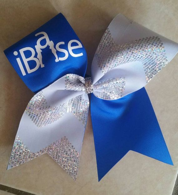 Cheer bow ibase with white chevron in by CurlyNoodleCreations