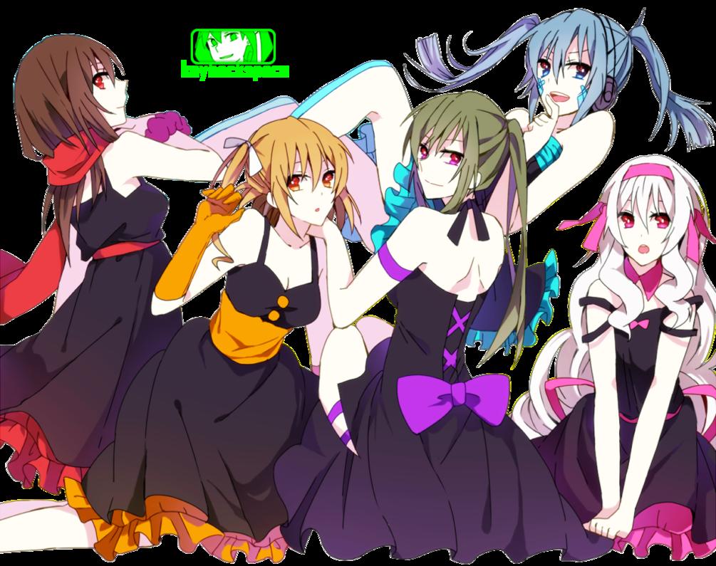 Mekaku Girls (Mekakucity Actors) - Render by azizkeybackspace on DeviantArt