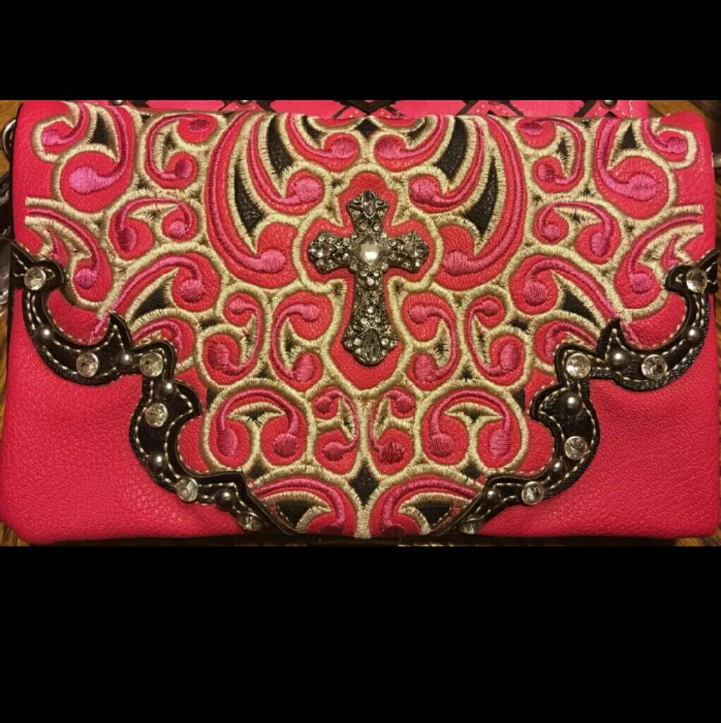Beautiful Western Style Envelope Clutch/Wristlet