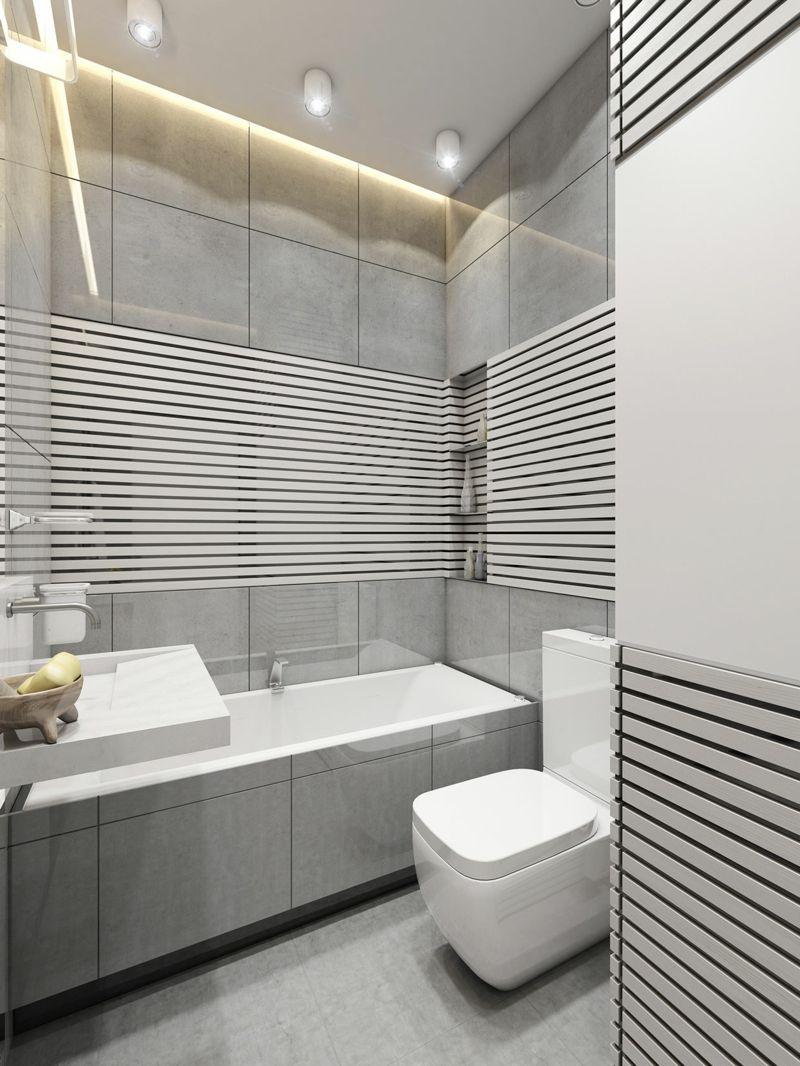 Badezimmer Kleines Lamellen Design Indirekte Beleuchtung Decke Hellgrau Moderne Kleine Bader Modernes Badezimmer Badezimmer Design