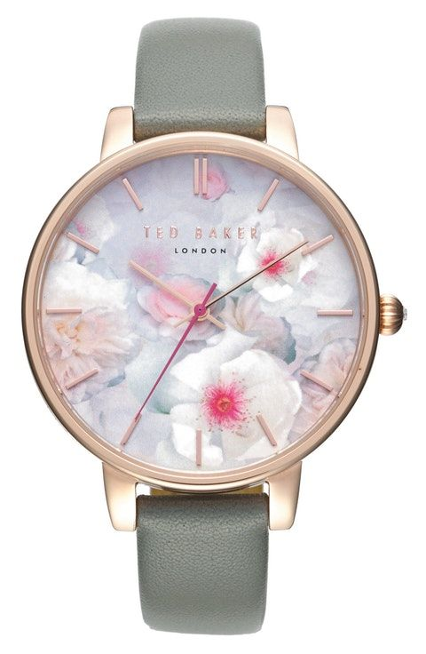 d68530f9d66 Ted Baker London Kate Print Dial Leather Strap Watch