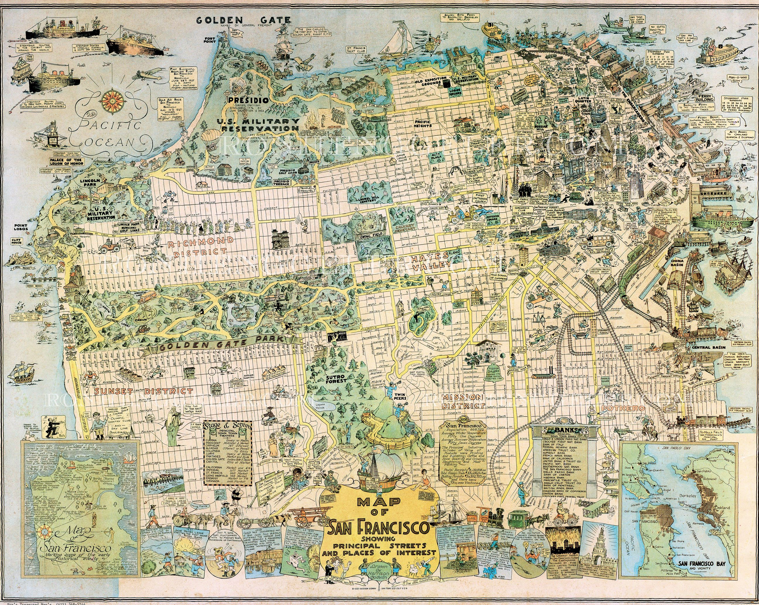1927 Harrison Godwin map of San Francisco