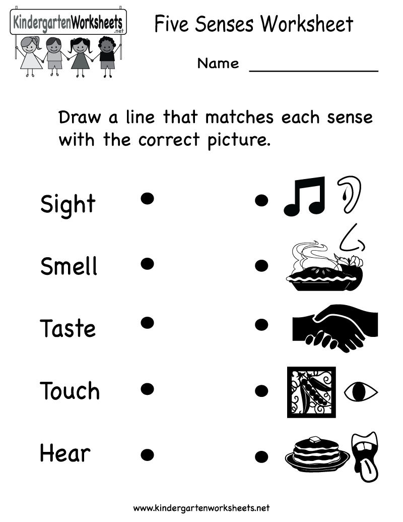 Kindergarten Five Senses Worksheet Printable | Worksheets (Legacy ...