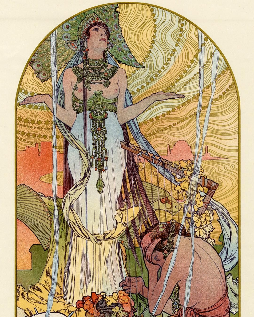 Czech artist Alphonse Mucha was born #onthisday in 1860. His colourful Art Nouveau works from around the turn of the 20th century could be seen on posters, advertisements and interior designs. This style is characterised by intricate patterns, floral motifs and flowing organic shapes. Mucha's artwork often portrayed women, and expressed the variety of roles women took in 'belle époque' society – from those rejecting old conventions to those on the fringes of society. This evocative 1897…