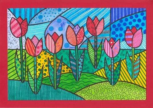 Pop-art tulipány  Frühling kunst, Kubistische kunst