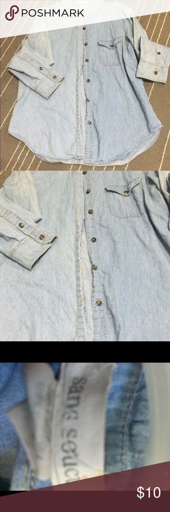 Long sleeve denim Size medium. Very cute with layers. Make offers or bundles for great deals Sans Souci Tops Button Down Shirts