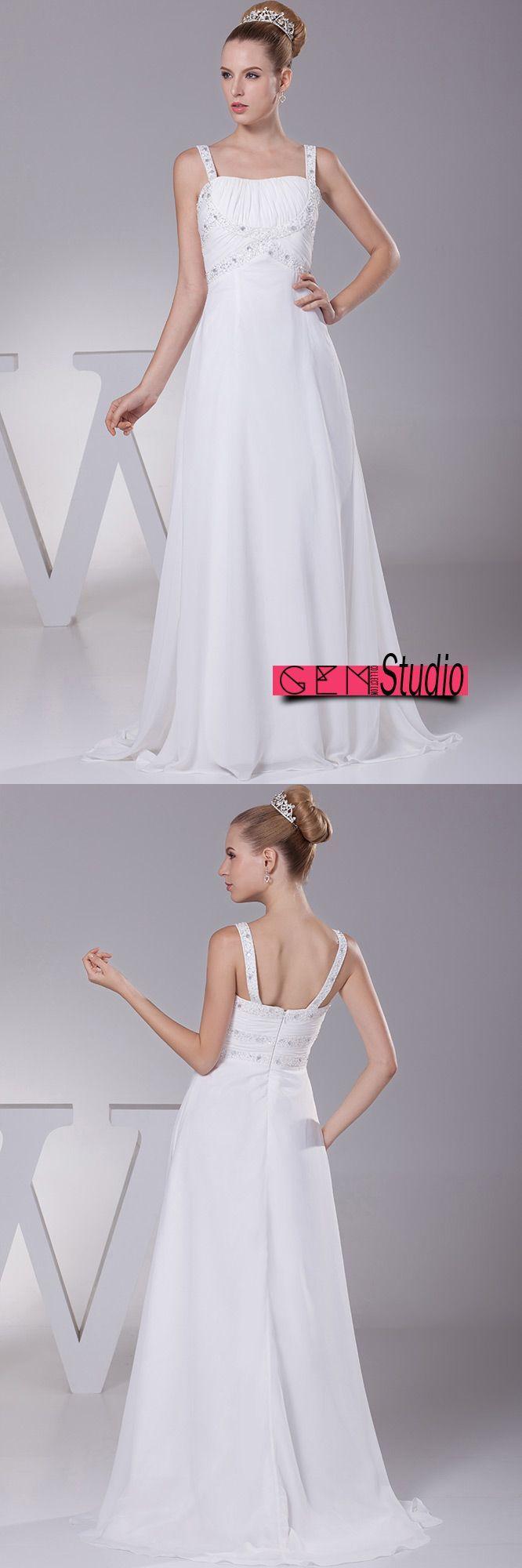 Wedding dress without train  Plain White Beading Straps Long Pleated Wedding Dress with Little
