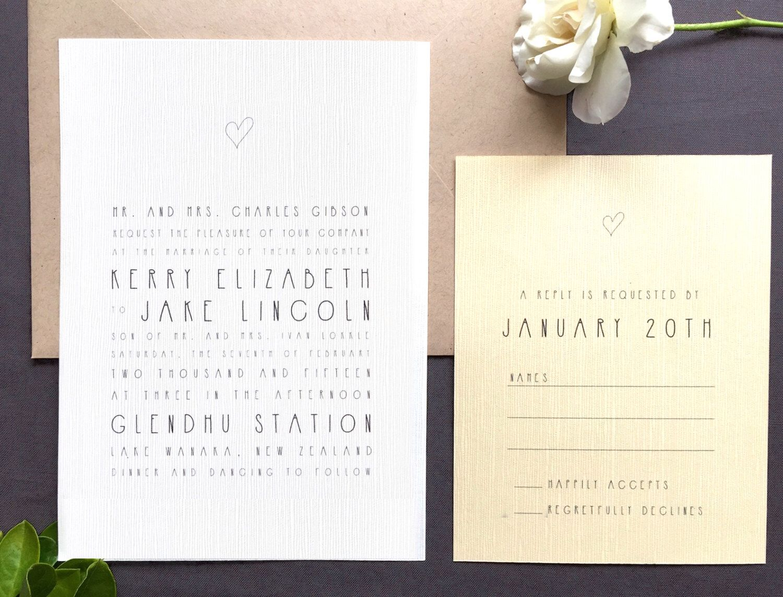Printable Wedding Invitation RSVP Handwritten Style Minimalist Modern Simple Heart Hand Drawn Hipster Casual by FalmariPaperCo on Etsy https://www.etsy.com/listing/217900185/printable-wedding-invitation-rsvp