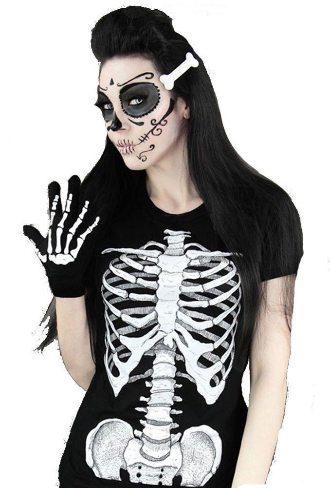 Emo Gothic Punk Restyle Human Skeleton Ribs & Pelvis X-ray T-Shirtv