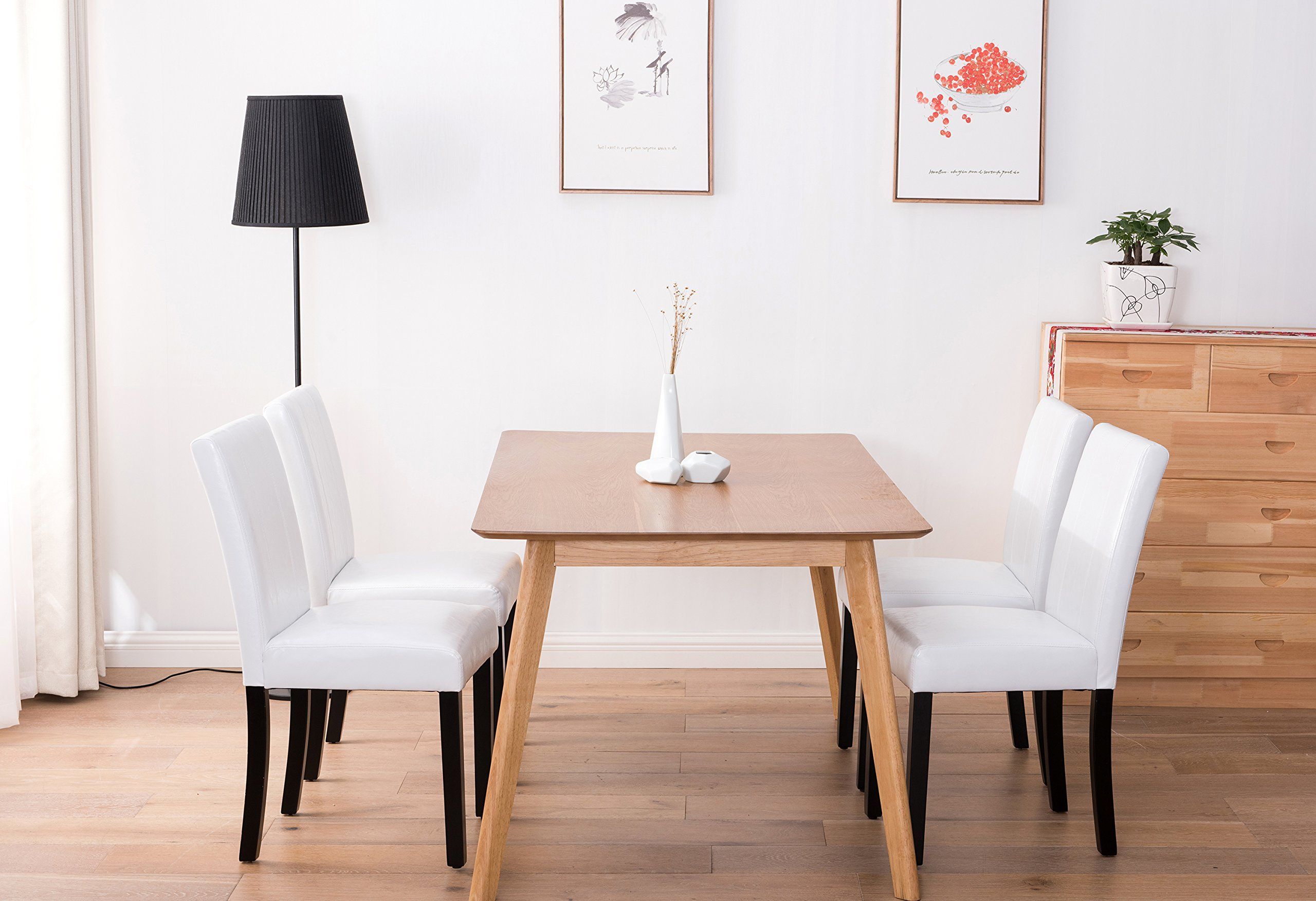 Pu leather Dining Chairs Set of 4 PerHome Chair Dining