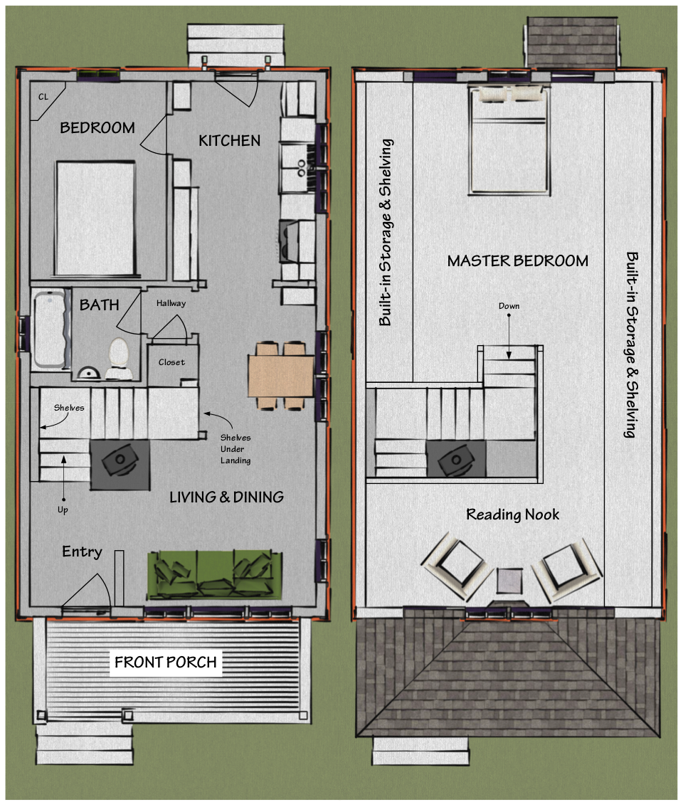 The beekeeper 39 s bungalow floor plan 249 if we put the for House plans with master bedroom upstairs