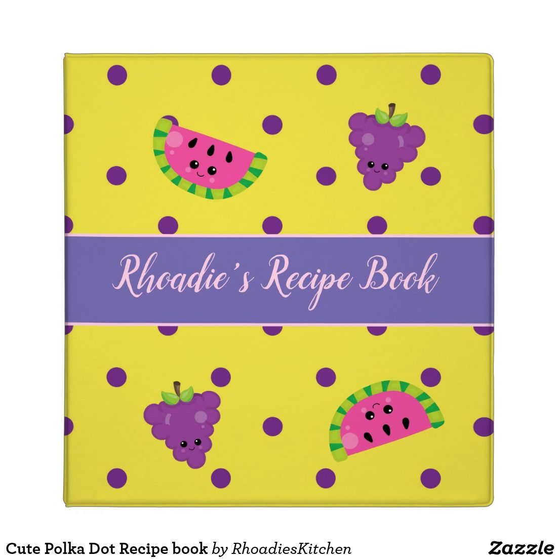 Cute Polka Dot Recipe Book 3 Ring Binder Zazzle Com Recipe Book Binder Design Polka Dots
