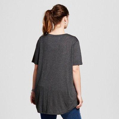 Women's Plus Size Mountains Calling Graphic Tee Charcoal Gray 1X - Zoe+Liv (Juniors')