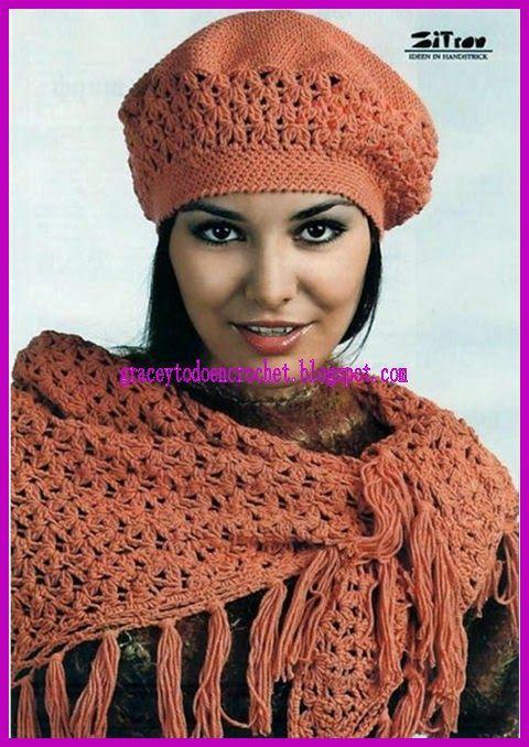 Beautiful triangular scarf and cap...Linda bufanda triangular y su ...