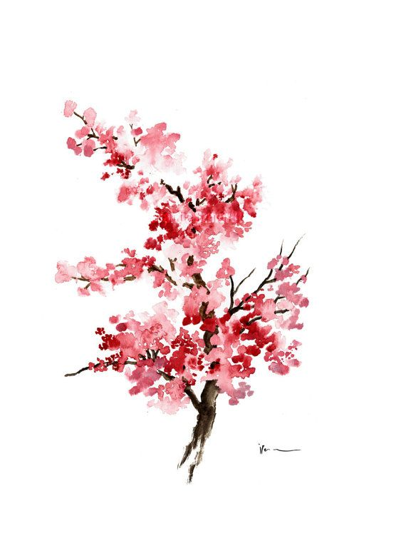 Cherry Blossom Flower Watercolor Painting Pink Gifts For Her