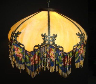 Antique Lamp Shade Love The Beaded Trim Beautiful
