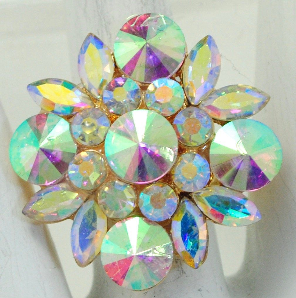 Gold Flower Cocktail Ring with Iridescent AB Rhinestones