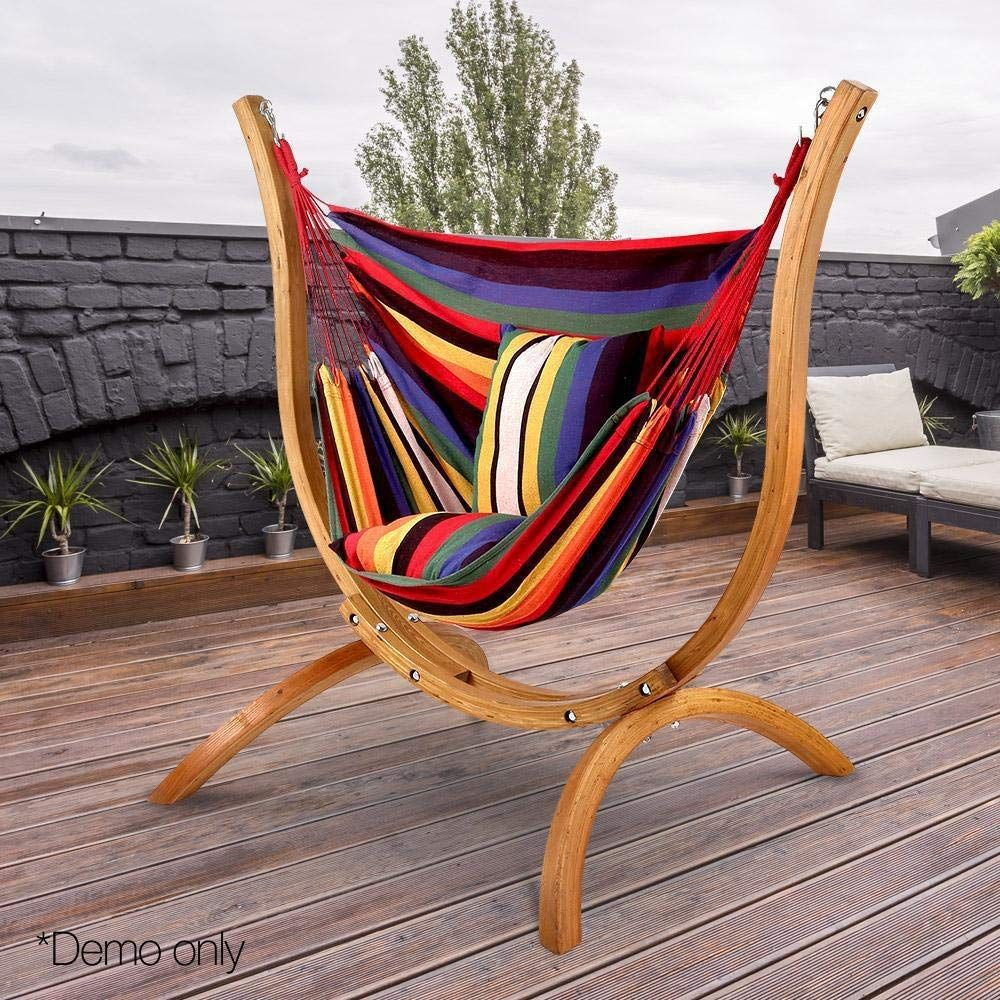 Artiss Hanging Rope Hammock Chair For Indoor Or Outdoor Max 120kg 2 X Cushions Included Amazon Com Au H Wooden Hammock Stand Wooden Hammock Hammock Stand