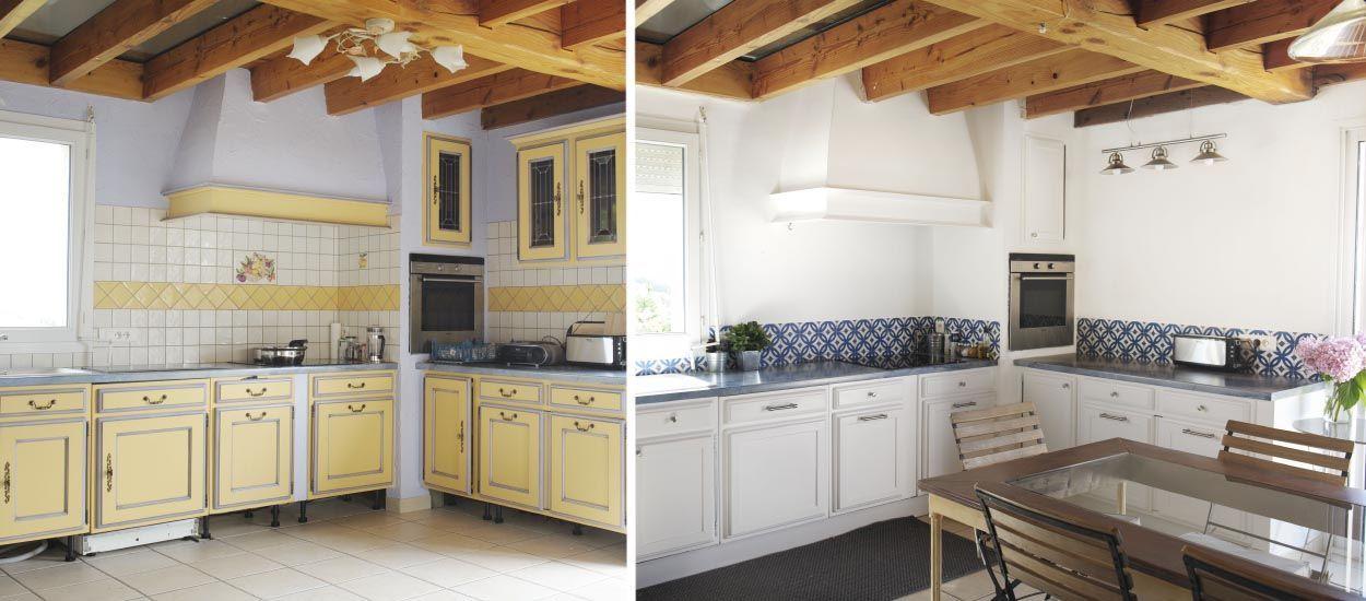 Avant Apres Une Cuisine Provencale Relookee En Blanc Et Bleu Cuisine Provencale Relooker Cuisine Renovation Cuisine