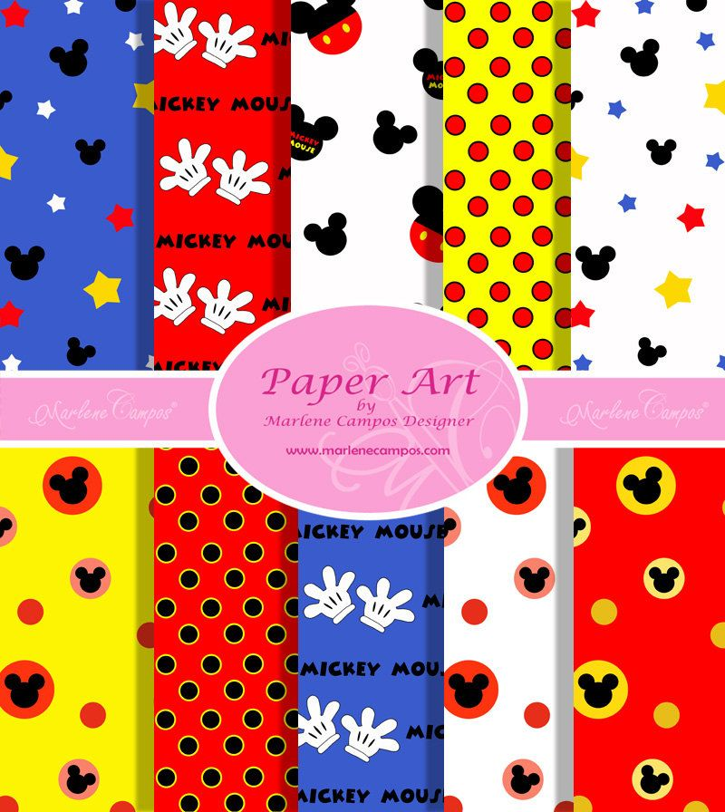 Mickey Mouse Classic Colors Digital Paper, 10 Sheets (8.5x11 ...