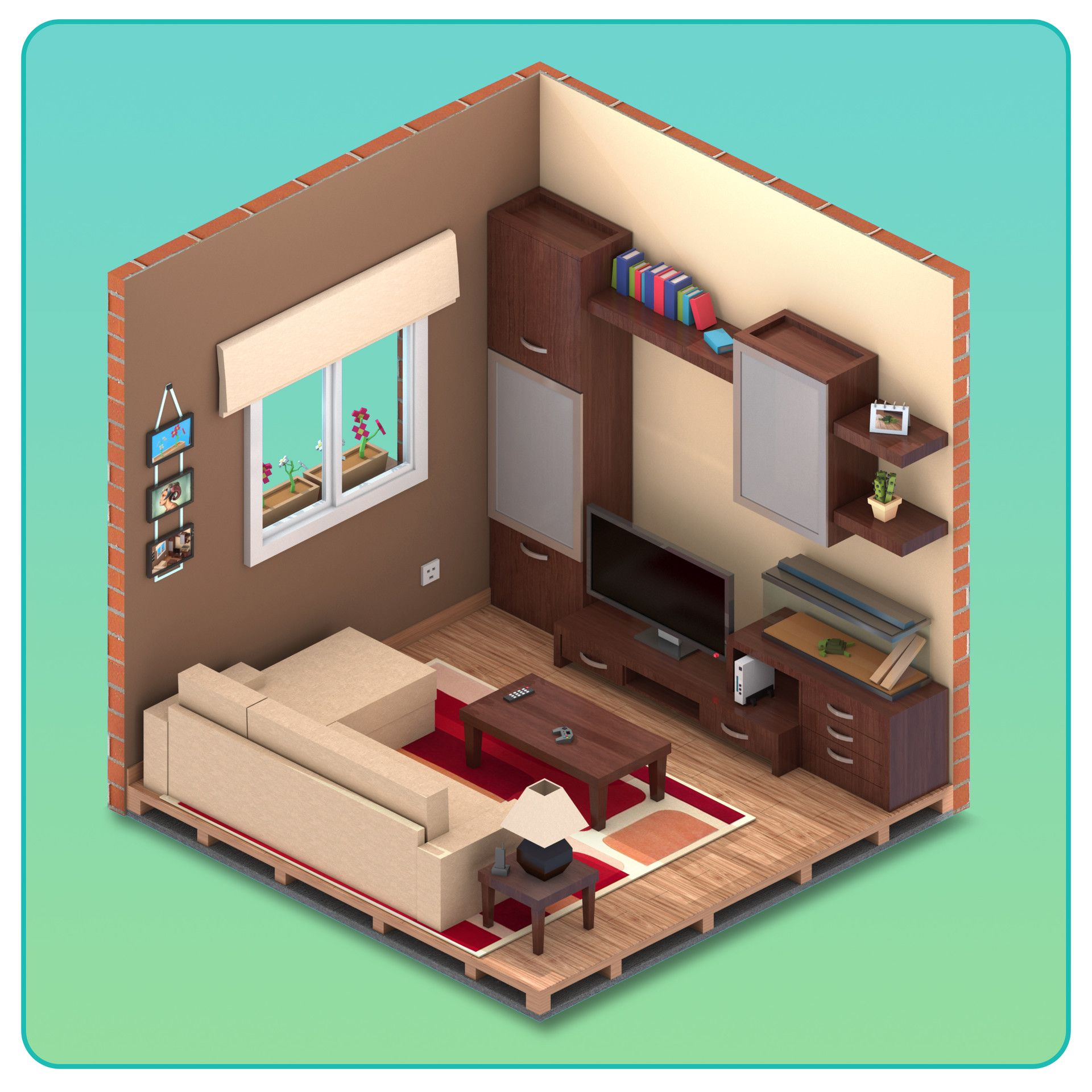 Isometric Living Room For Game Maked In 3dmax And Rendered In