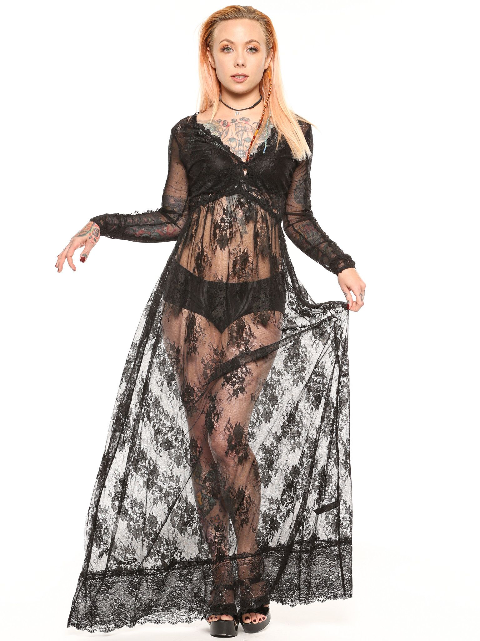 Widow's Dear Departed Lace Maxi available from Grit N Glory