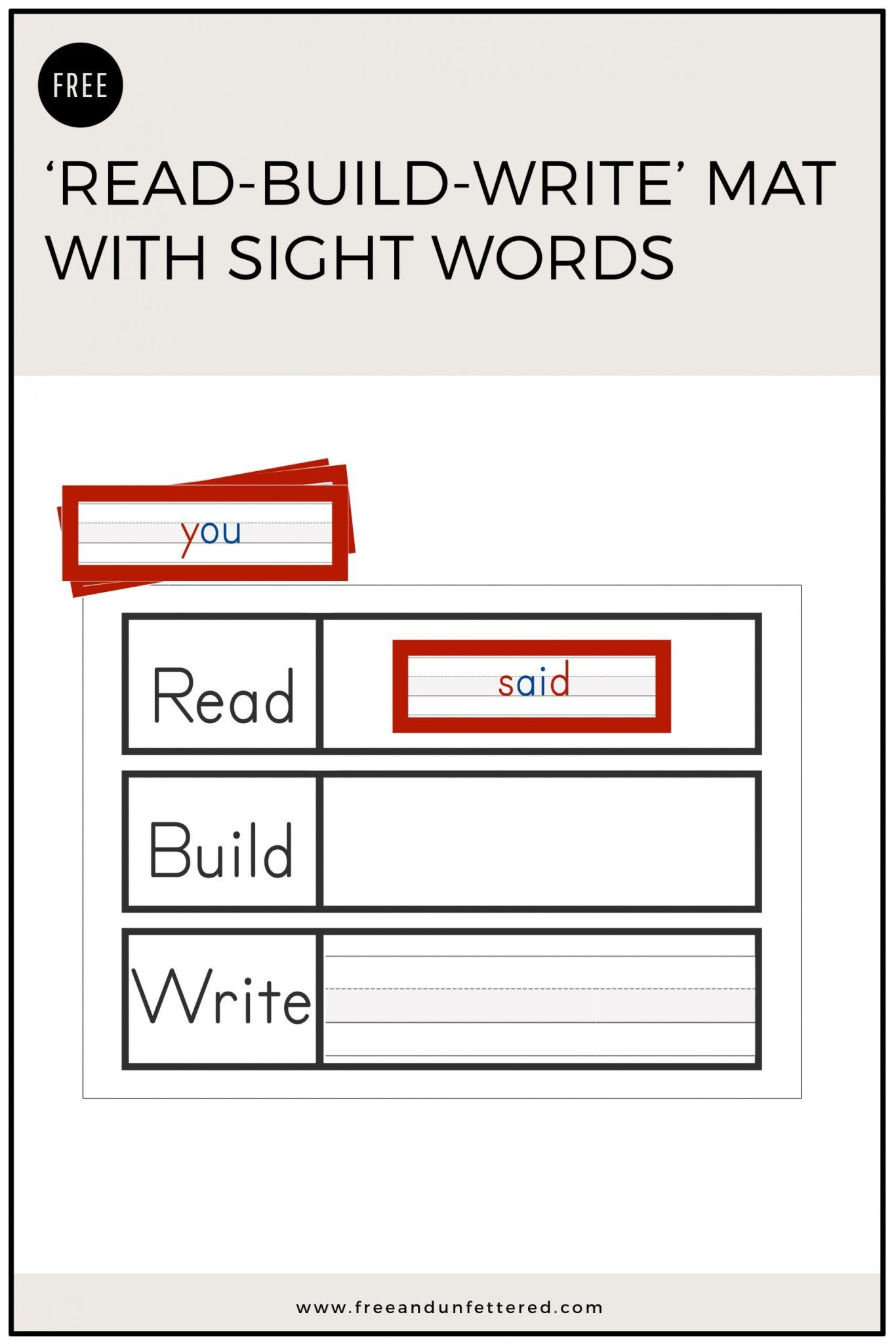 Free Printable Read Build Write Mat With Sight Words