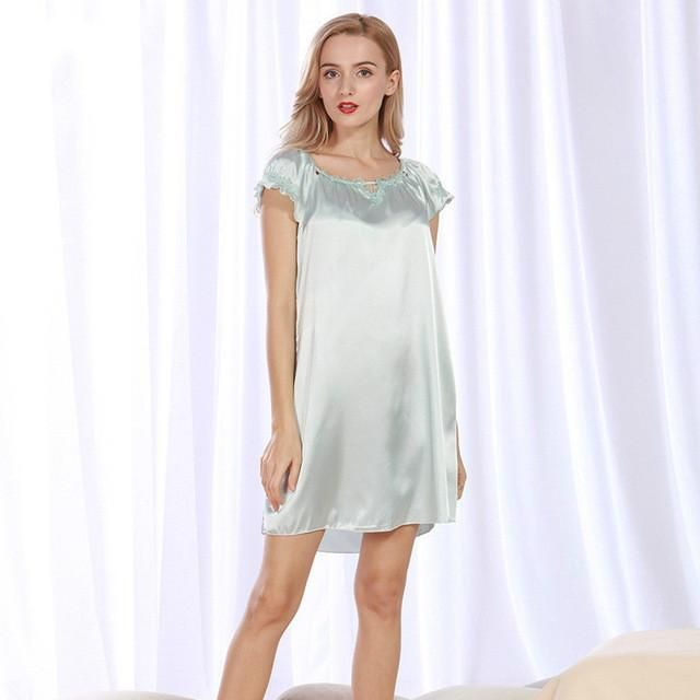 Lace Women Nightgowns Faux Silk Summer Ladies Sleep Lounge Lace ...