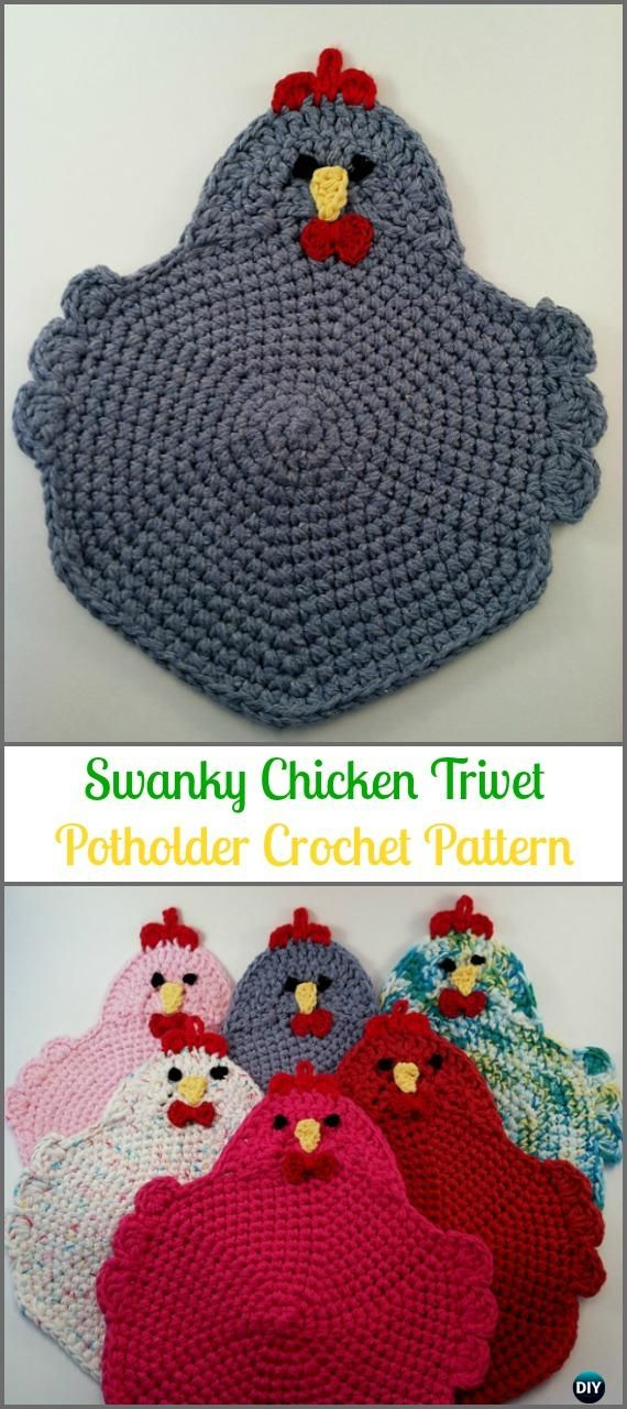 Crochet Swanky Chicken Trivet Potholder Paid Pattern Easter