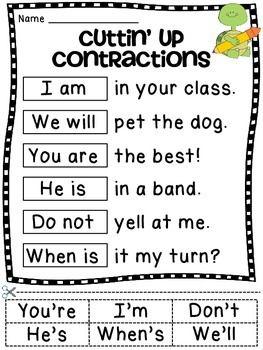 Contractions Worksheet Activities | Student reading, Worksheets ...