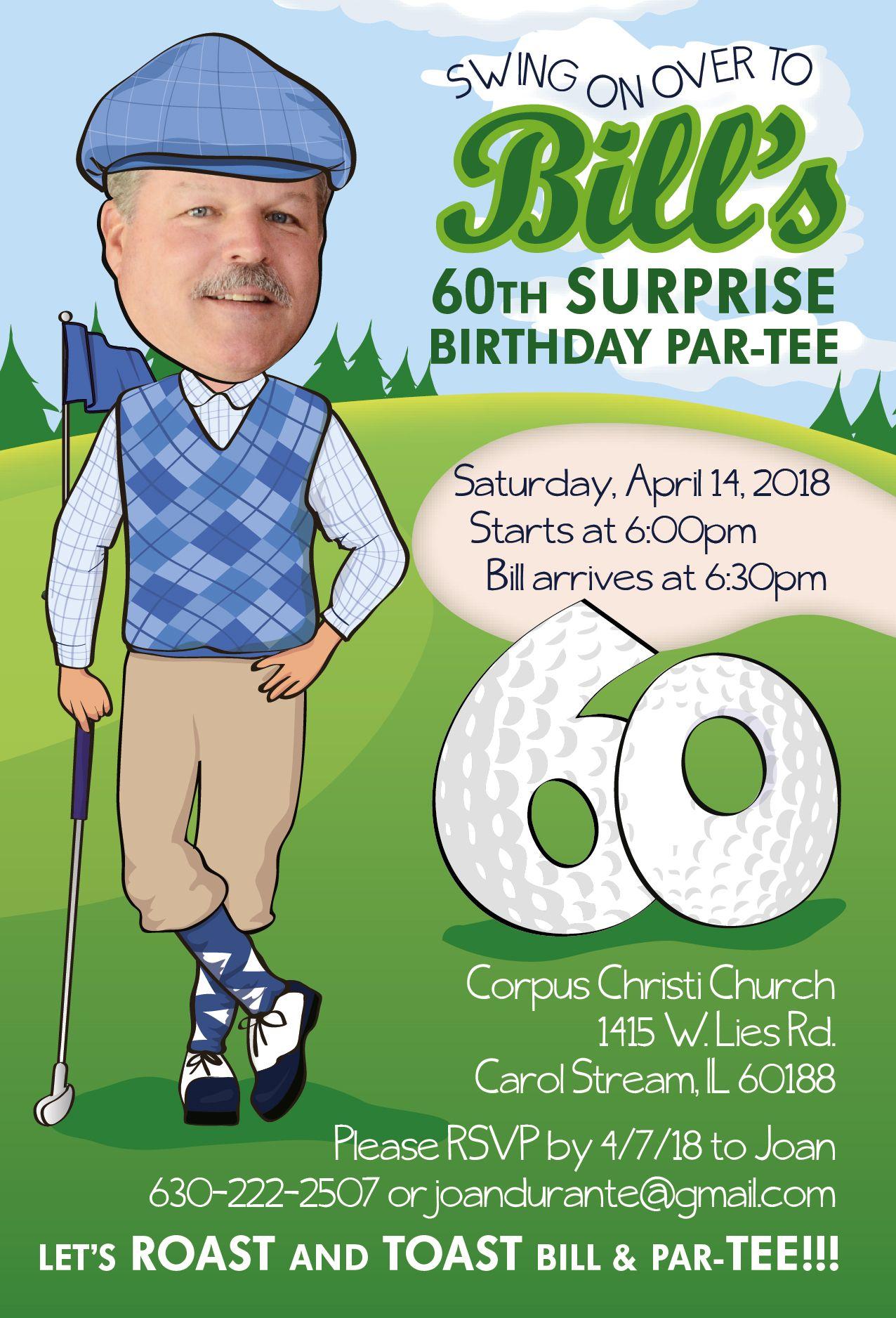 Golf Themed Birthday Party Invitations Etsy