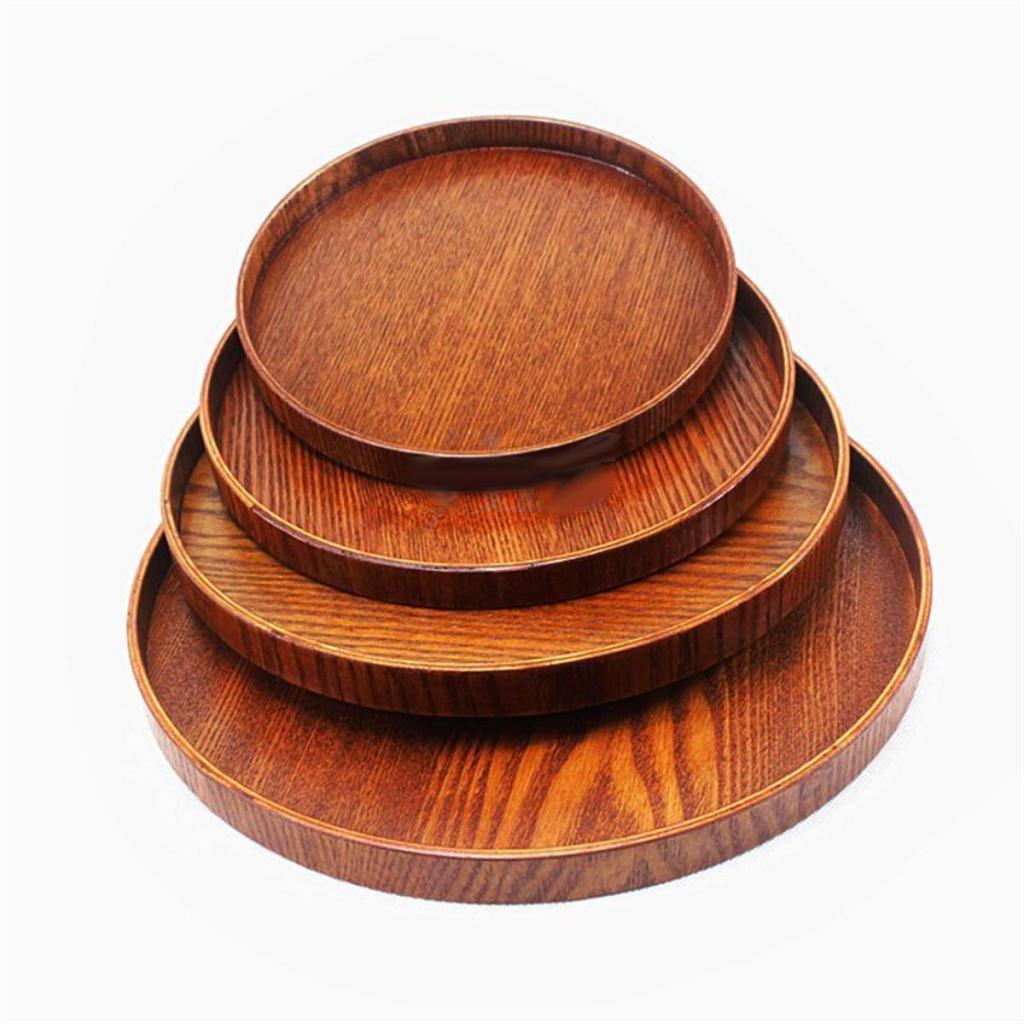 Round Wooden Plate Serving Tray Dish Salad Bowl Dessert Tea Platter Kitchen