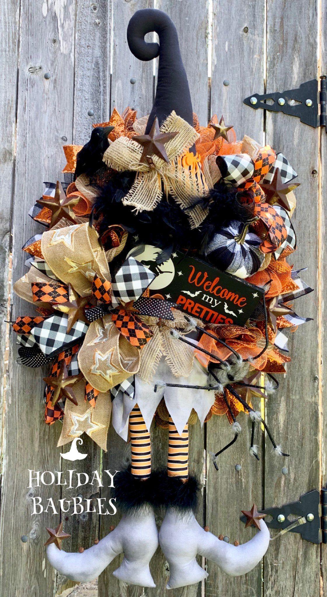 Halloween Wreath, Witch Wreath, Halloween Witch Wreath, Happy Halloween Wreath, Halloween Decor, Rustic Halloween Wreath #halloweenwreaths